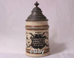 Antique German Beer Stein Threaded Relief Gnomes by A. Diesinger #1005 c. 1890s