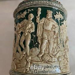 Antique German Beer Stein With King Festival Featuring A Beer + Music Scene