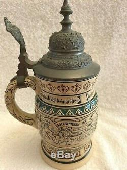 Antique German Beer Stein with Pewter Lid ca. 1920, Dumler & Breiden