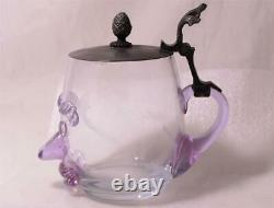 Antique German Blown Glass Character Beer Stein Man's Face c. 1910s