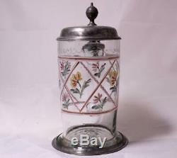 Antique German Bohemian Glass Beer Stein Hand-Blown Enameled Floral Motif c. 1790