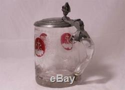 Antique German/Bohemian Glass Beer Stein Red Flashed Engraved Friendship c. 1850s