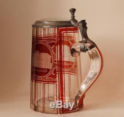 Antique German/Bohemian Glass Beer Stein Ruby Red Cut Teplitz Spa c. 1870s
