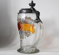 Antique German Bohemian Glass Biedermeier Beer Stein Hand-Blown Enameled c. 1857