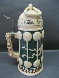 Antique German Ceramic Beer Stein withMetal Hinged Ceramic Lid