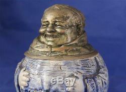 Antique German Character Beer Stein Laughing Monk Metal Head by R. Hanke c. 1890