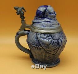 Antique German Character Beer Stein -Monk by Reinhold Hanke # 67 c. 1880 collect