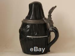 Antique German Character Beer Stein Nun Porcelain withRare Lithopane dat. 1887