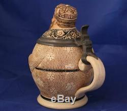 Antique German Character Beer Stein Rich Man by Marzi and Remy c. 1890