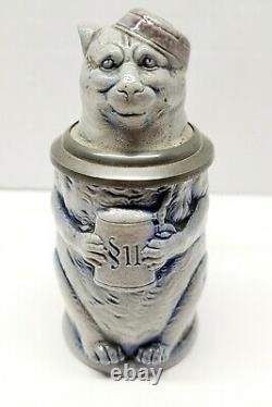 Antique German Character Stoneware Beer Stein S. P. Gerz Student Cat Mini 1880's