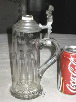 Antique German Cut Glass Crystal Gnome Elf Man Statue Beer Bar Brewery Art Stein