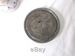 Antique German Faience Beer Stein 1700s Pewter Lid and Original Pewter Base