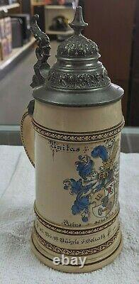 Antique German Fraternity Beer Stein 1899