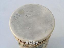 Antique German Germany Beer Stein Mug Tankard 1 1/2 L Hand Painted Raised Detail