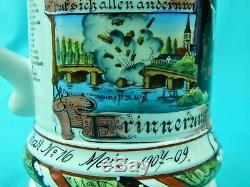 Antique German Germany WW1 16 Reg. Reservist Pionier Litho Porcelain Beer Stein