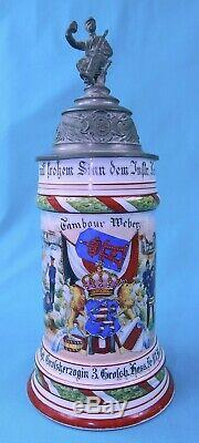 Antique German Germany WW1 1903-05 Regimental Litho Porcelain Lidded Beer Stein