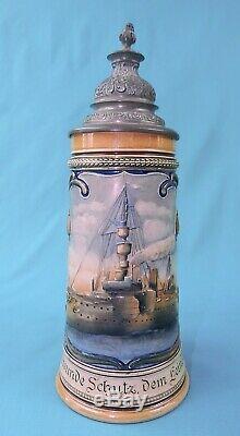 Antique German Germany WW1 1911 Navy Marine Ceramic Lidded Beer Stein Mug