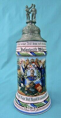 Antique German Germany WW1 20 Regiment Porcelain Lidded Litho Beer Stein Mug