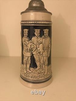 Antique German Germany WW1 Ceramic Lidded Beer Stein Mug