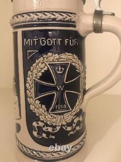 Antique German Germany WW1 Hindenburg Ceramic Lidded Beer Stein Mug
