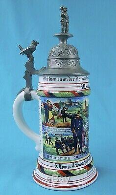 Antique German Germany WW1 Military Regimental Porcelain Lidded Beer Stein Mug 4