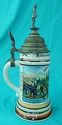 Antique German Germany WW1 Regimental 1904 Porcelain Litho Lidded Beer Stein