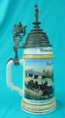 Antique German Germany WW1 Regimental 94/97 Porcelain Litho Lidded Beer Stein
