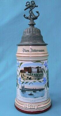 Antique German Germany WW1 Regimental Pionier Porcelain Litho Lidded Beer Stein