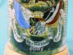 Antique German Germany WW1 Spike Helmet Litho Porcelain Lidded Beer Stein Mug