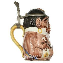 Antique German Geschutzt 1005 Minstrel Man Black Character Beer Stein