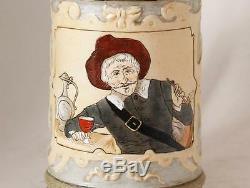 Antique German HR Hauber & Reuther Porcelain Beer Stein #217 Etched c. 1890