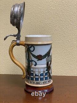 Antique German Hand-Painted Mettlach Beer Stein