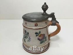 Antique German Handpainted Pottery Beer Stein with Pewter Lid, 6 Tall x 5 1/2