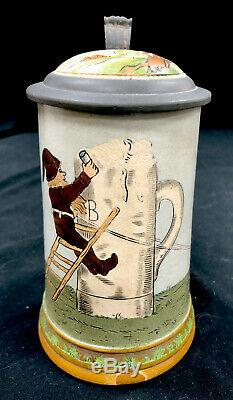 Antique German Hauber And Reuther. 5 L Gnomes 416 Beer Stein