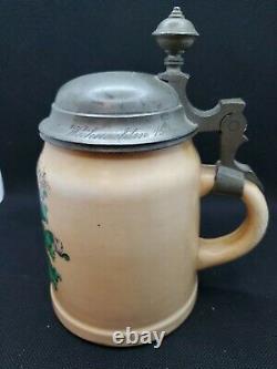Antique German Ironstone 1/2 L. Beer Stein Pewter Lid Lithophane 1900
