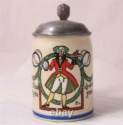Antique German Jugendstil Beer Stein Gut Trunk u. Speis by F. Ringer c. 1905