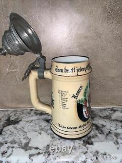 Antique German Lidded Beer Stein 1892