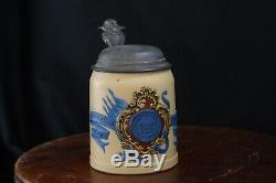 Antique German METTLACH Beer Stein YALE UNIVERSITY Villeroy Boch Ceramic Vintage