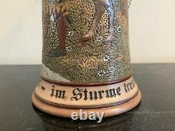 Antique German Marzi & Remy 1/2 Litter Beer Stein w Knight and Horse Decoration