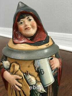 Antique German Mettlach Type Reinhold Hanke Character Beer Stein Maid Of Munich