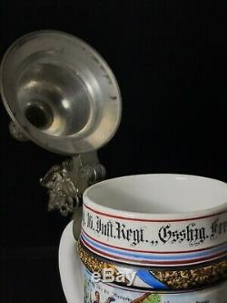 Antique German Military Regimental Beer Stein 1902-06 Germany
