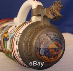 Antique German Military Regimental Beer Stein Bavarian 5 Inf. Rgt. Bamberg c. 1904