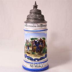 Antique German Military Regimental Beer Stein Bavarian 6 Inf. Rgt. Amberg c. 1898