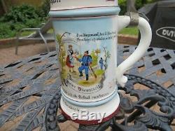 Antique German Military Regimental Beer Stein Inf Regt 14 1896