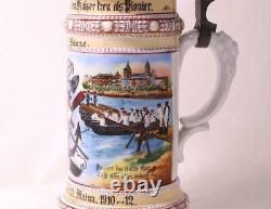 Antique German Military Regimental Beer Stein Pionier Battl. No. 21 Mainz 1912