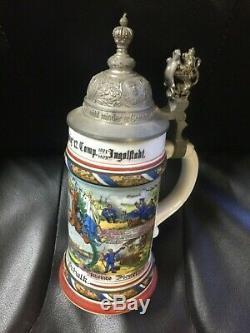 Antique German Military Regimental Lithopane Beer Stein