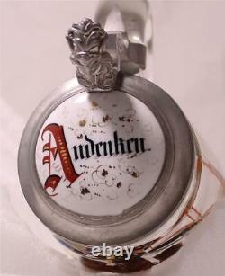 Antique German Mold Blown/Enam Glass Beer Stein Satyrical Theme Bavaria c. 1870s