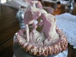 Antique German Mouth Blown Beer Stein carved stag horn Mettlach Era 1910-1920