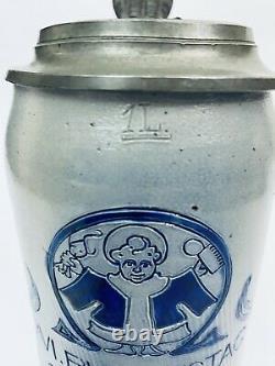 Antique German Munich 1899 Brewery Beer Stein 1L -INTERESTING LID Munich Child