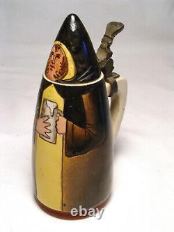Antique German Munich Child Maid Character Beer Stein Reinhold Hanke Hof Brau